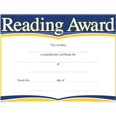 Hammond & Stephens Raised Print Reading Recognition  Award, 11 x 8-1/2 inches, pk of 25