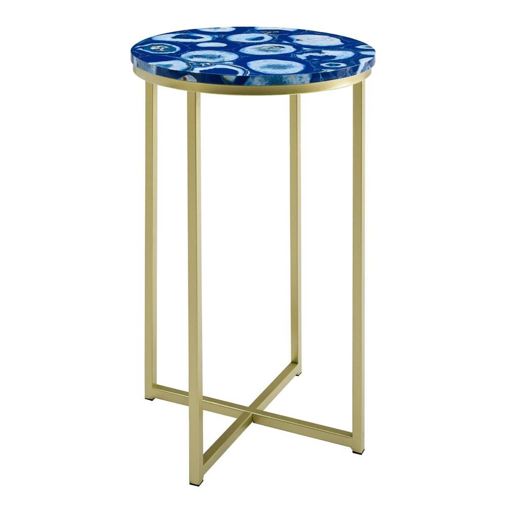 Vivian Glam X Leg Round Side Table Faux Agate Blue Gold Saracina Home