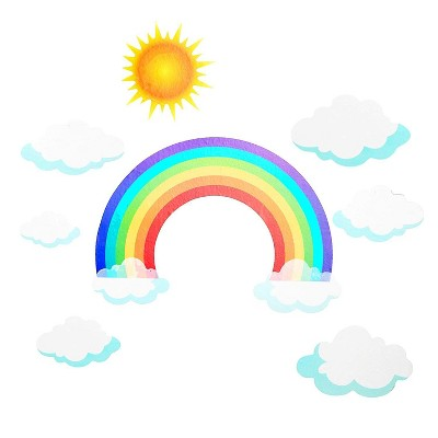 Rainbow Wall Decals for Kids Rooms (2 Sheets)