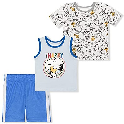 Peanuts Boy's 3-Pack Snoopy Short Sleeve Graphic Tee Shirt, Sleeveless Tank Top and Short Set for Infants