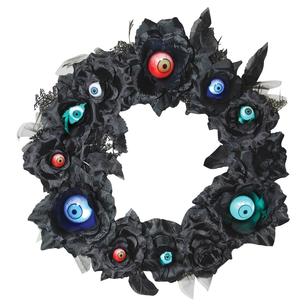 15 Halloween Black Wreath with Lightup Eyeballs, Multi-Colored