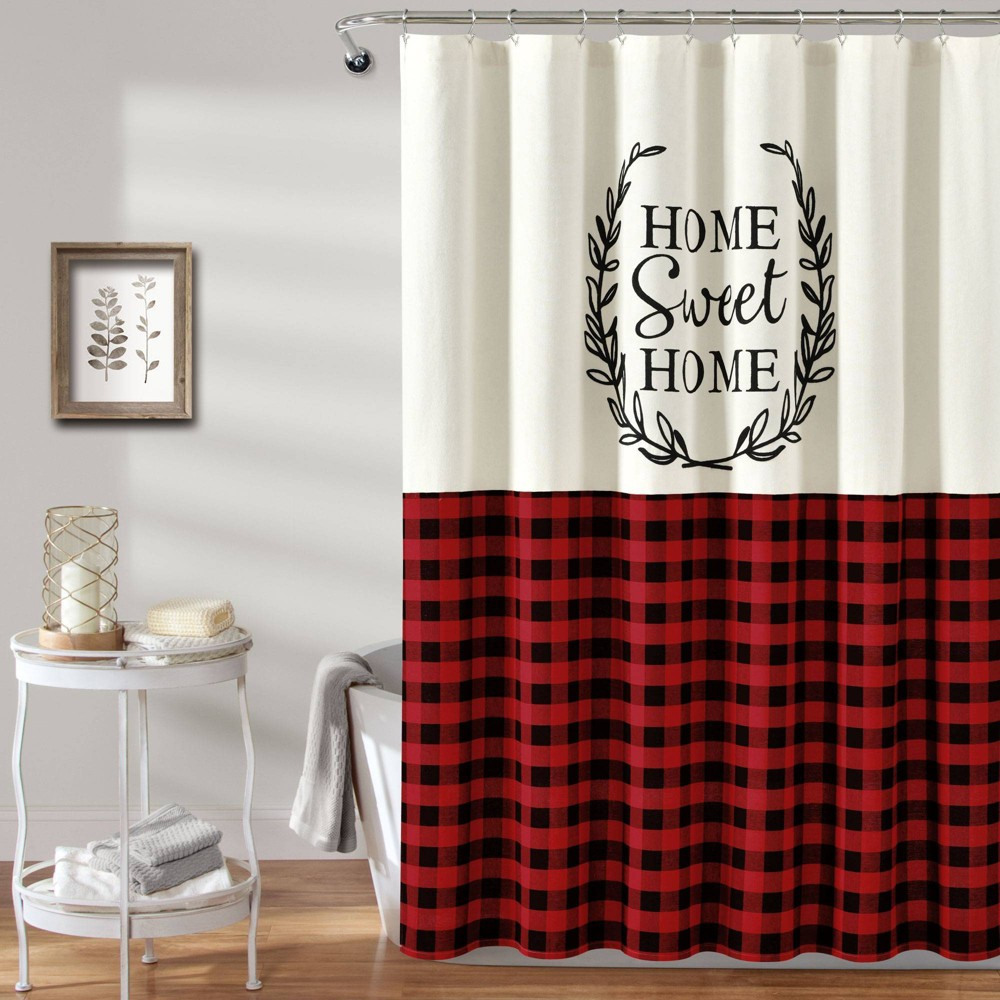 """Image of """"72""""""""x72"""""""" Home Sweet Home Wreath Shower Curtain Red - Lush Decor"""""""