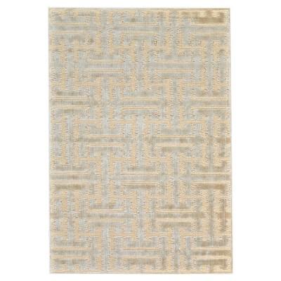 "5'3""X7'6"" Geometric Woven Area Rugs Cream/Ecru - Weave & Wander"