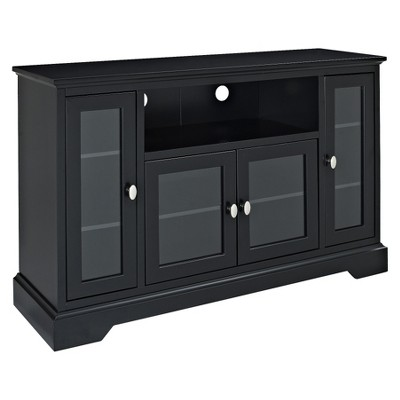 52  Wood Highboy TV Media Stand Storage Console - Black - Saracina Home