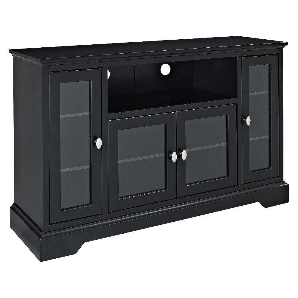 Glass Door Traditional Highboy TV Stand for TVs up to 58 Black - Saracina Home Buy