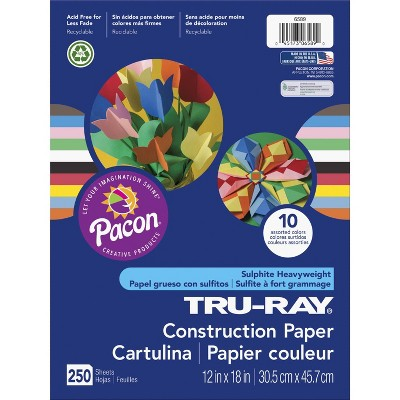 Tru-Ray Construction Paper, 12 x 18 Inches, Assorted Bright Color, pk of 250