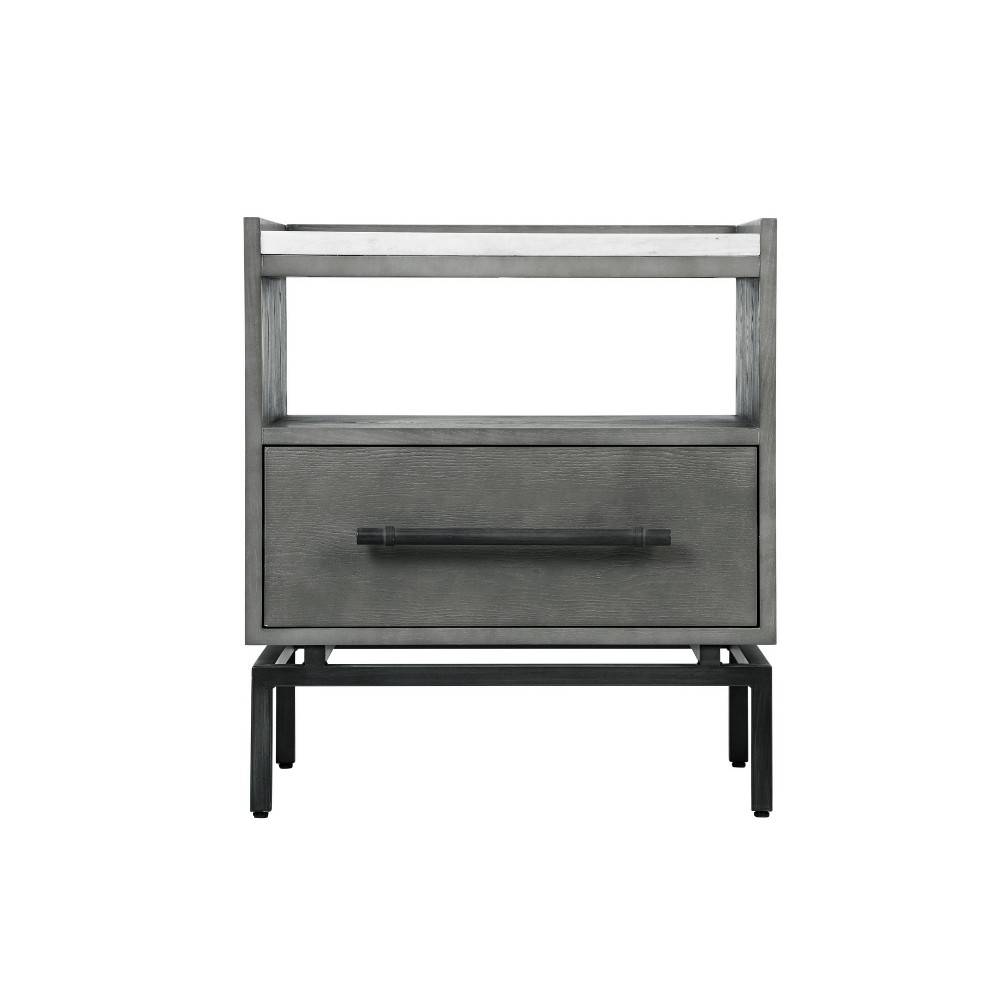 Image of Ashton Marble Top Nightstand Table Gray - Finch