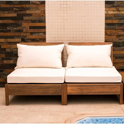 2pc Grass Eucalyptus Chairs with Cushions Brown - Alaterre Furniture