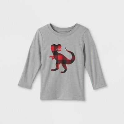 Toddler Boys' Buffalo Print T-Rex Graphic Long Sleeve T-Shirt - Cat & Jack™ Gray