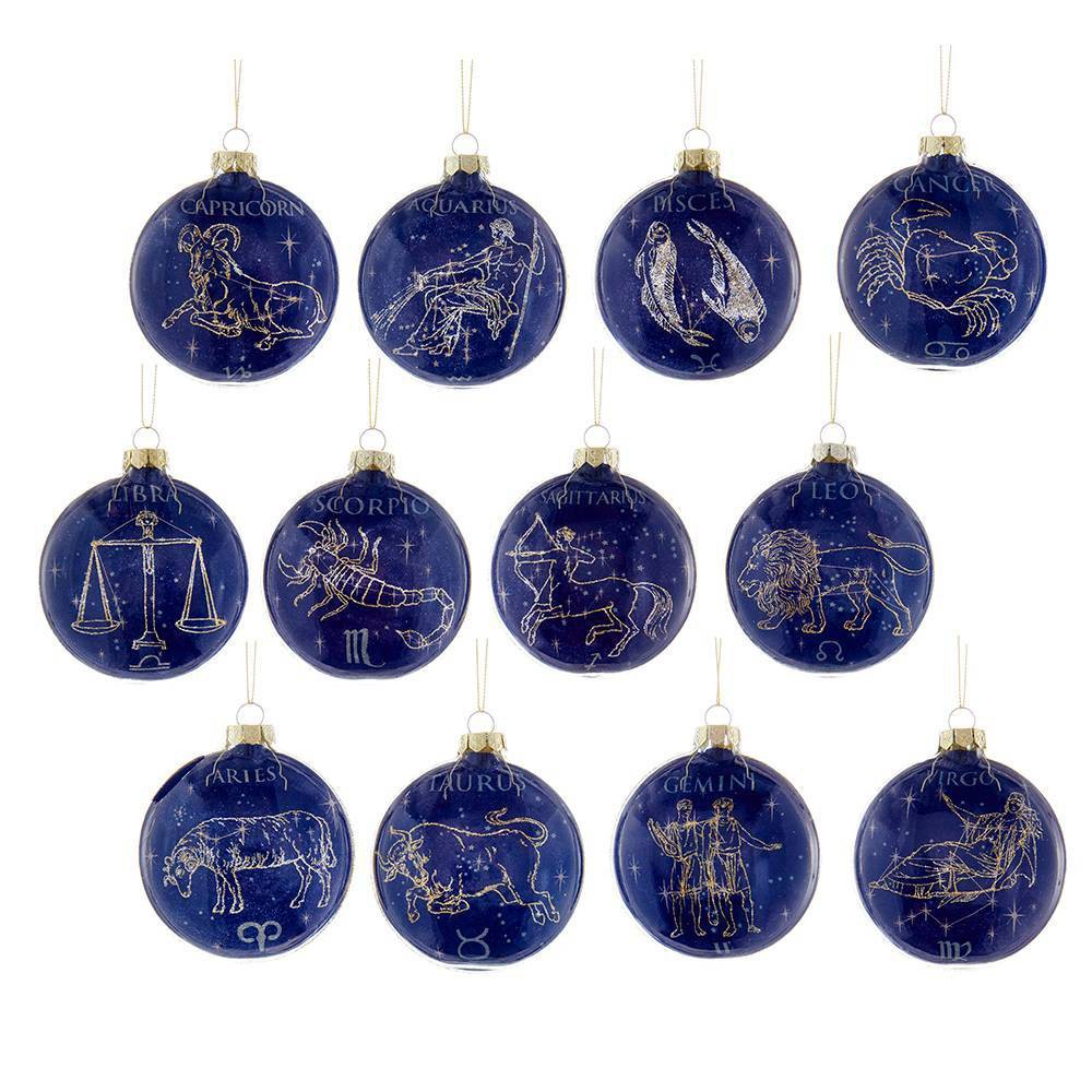 Image of 12pc 80mm Kurt Adler Glass Zodiac Ornament Set, Blue