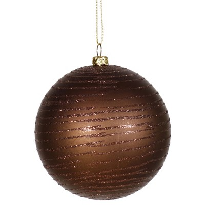 "Vickerman 4"" Glitter Striped Shatterproof Christmas Ball Ornament - Brown"