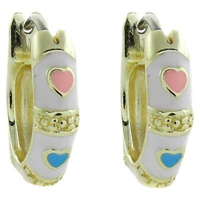 ELLEN 18k Gold Overlay Enamel Heart Design Hoop Earrings - White