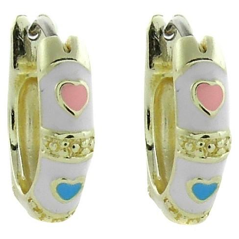 ELLEN 18k Gold Overlay Enamel Heart Design Hoop Earrings - White - image 1 of 1