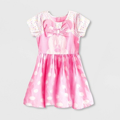 Girls' Disney Minnie Mouse Dress - Pink/White - Disney Store