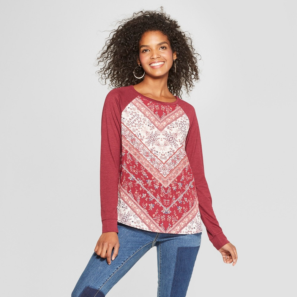 Women's Long Sleeve Woven Top with Knit Sleeves - Xhilaration Burgundy (Red) XL
