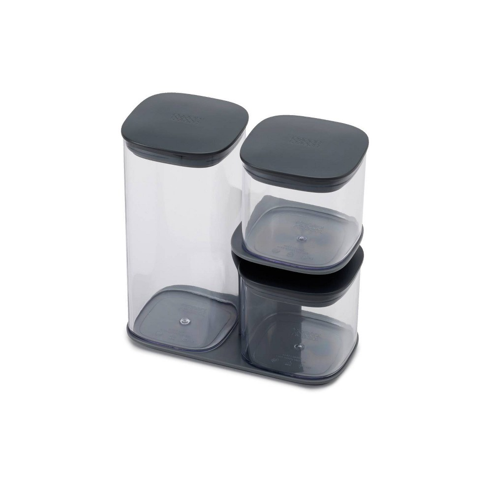 Image of Joseph Joseph 3pc Podium Storage Jar Set with Stand Gray