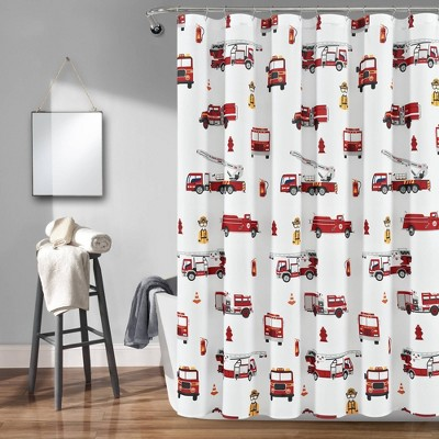 "72""x72"" Make A Wish Fire Truck Shower Curtain Single - Lush Décor"