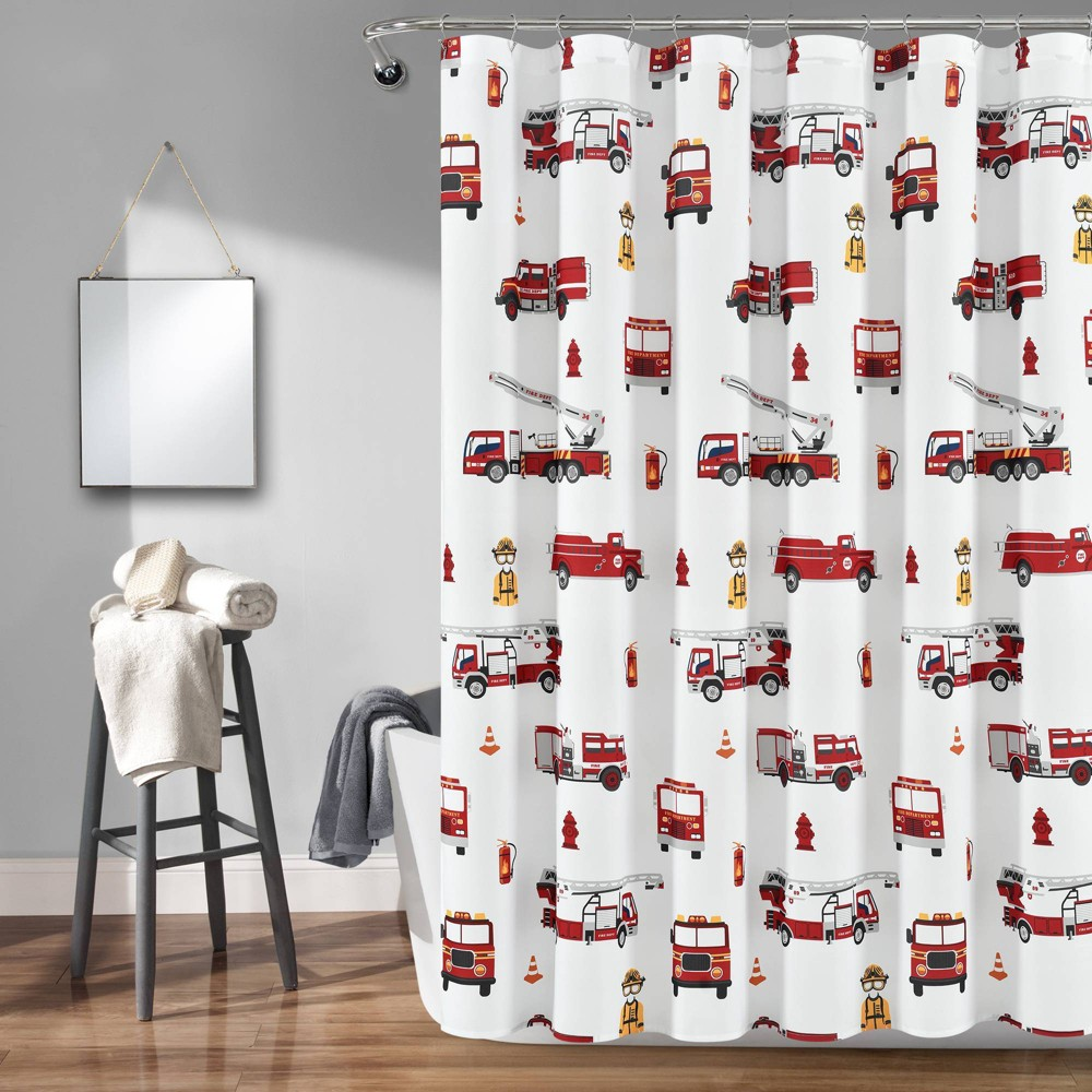 """Image of """"72""""""""x72"""""""" Make A Wish Fire Truck Shower Curtain Single Gray/Red - Lush Décor"""""""