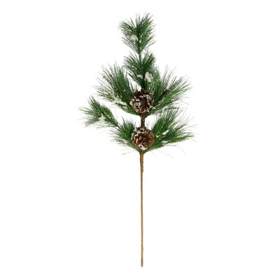 """Northlight 24"""" Flocked Long Pine Needle and Pine Cone Artificial Christmas Spray"""