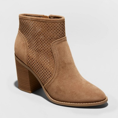 Women's Crissy Microsuede Laser Cut Heeled Bootie - Universal Thread™ Taupe 6.5
