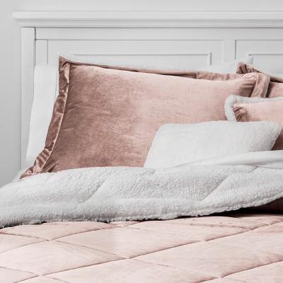 5pc King Stockholm Velvet Reverse to Sherpa Comforter Set Blush