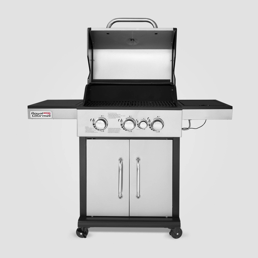 Stainless Steel 3 Burner Propane Gas Grill with Side Burner GG3302S Silver – Royal Gourmet 54442059