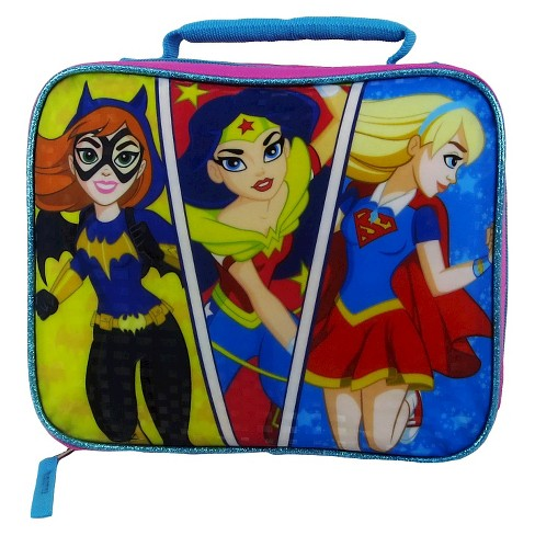 "Super Hero Girls' 9"" Rectangular Lunch Bag - Pink/Blue - image 1 of 3"
