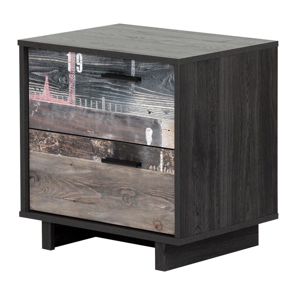 Fynn 2 Drawer Nightstand Gray Oak And Factory Planks Effect - South Shore