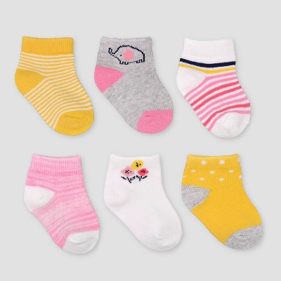 Baby Girls' 6pk Zoo Ankle Socks - Just One You® made by carter's 3-12M