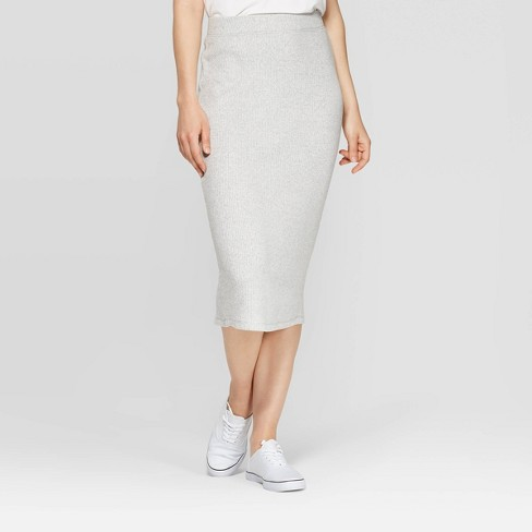 Women's Mid-Rise Rib Knit Sweater Skirt - A New Day™ - image 1 of 3