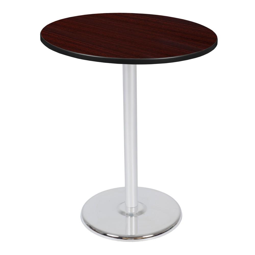 36 Via Cafe High Round Platter Base Table Mahogany/Chrome (Brown/Grey) - Regency
