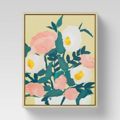 "8"" x 10"" Yellow Floral Framed Canvas - Opalhouse™"