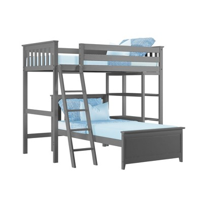 Max & Lily L Shape Twin over Twin Bunk Bed with Bookcase
