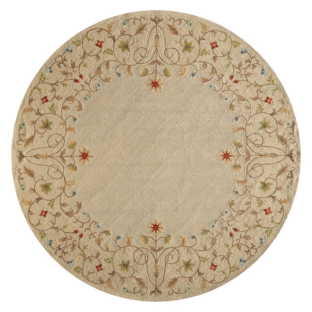 9'X9' Floral Hooked Round Area Rug Beige - Momeni