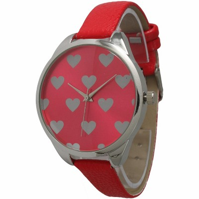 Olivia Pratt Heart Print Face Leather Strap Watch
