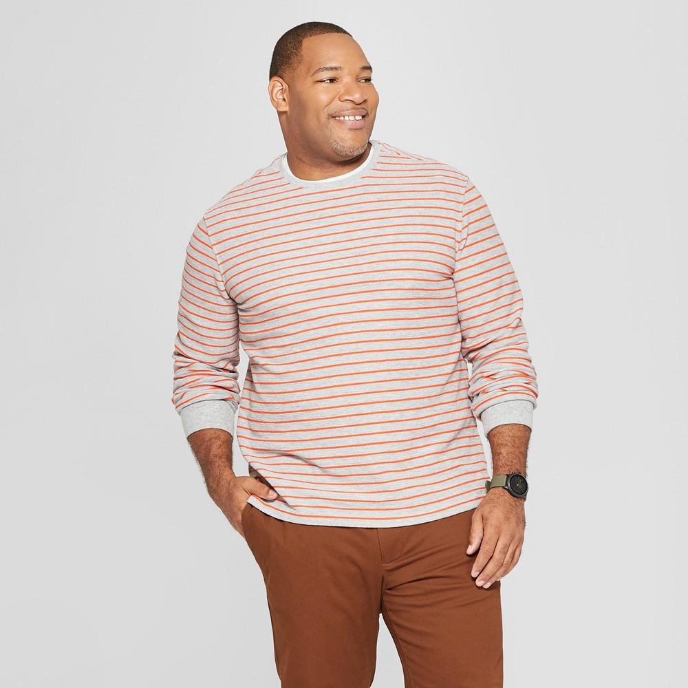 Men's Tall Striped Standard Fit Long Sleeve Textured Crew Neck Shirt - Goodfellow & Co Gray LT