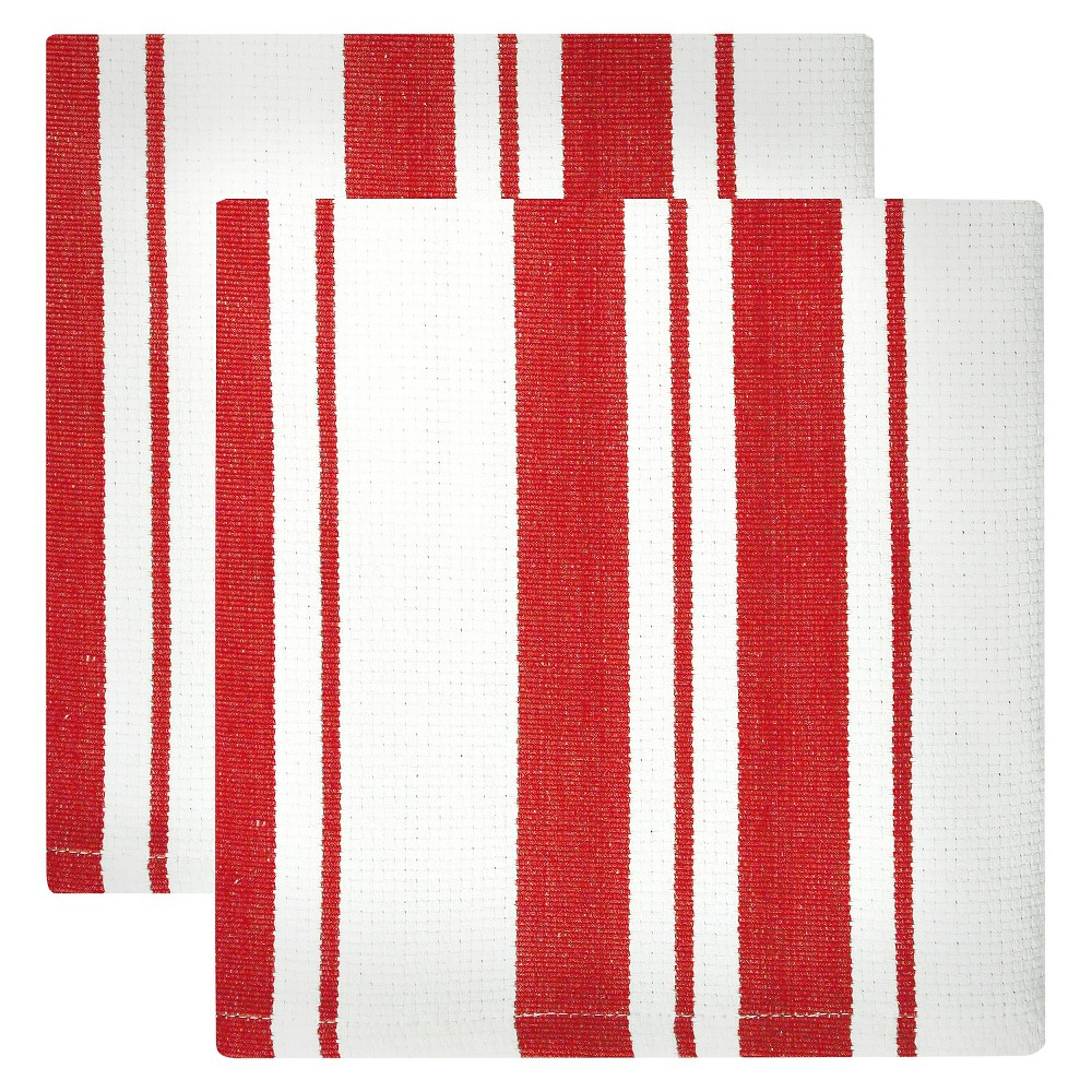"Image of ""13""""x13"""" 2pk Cotton Stripe Kitchen Towel Red - Mu Kitchen"""