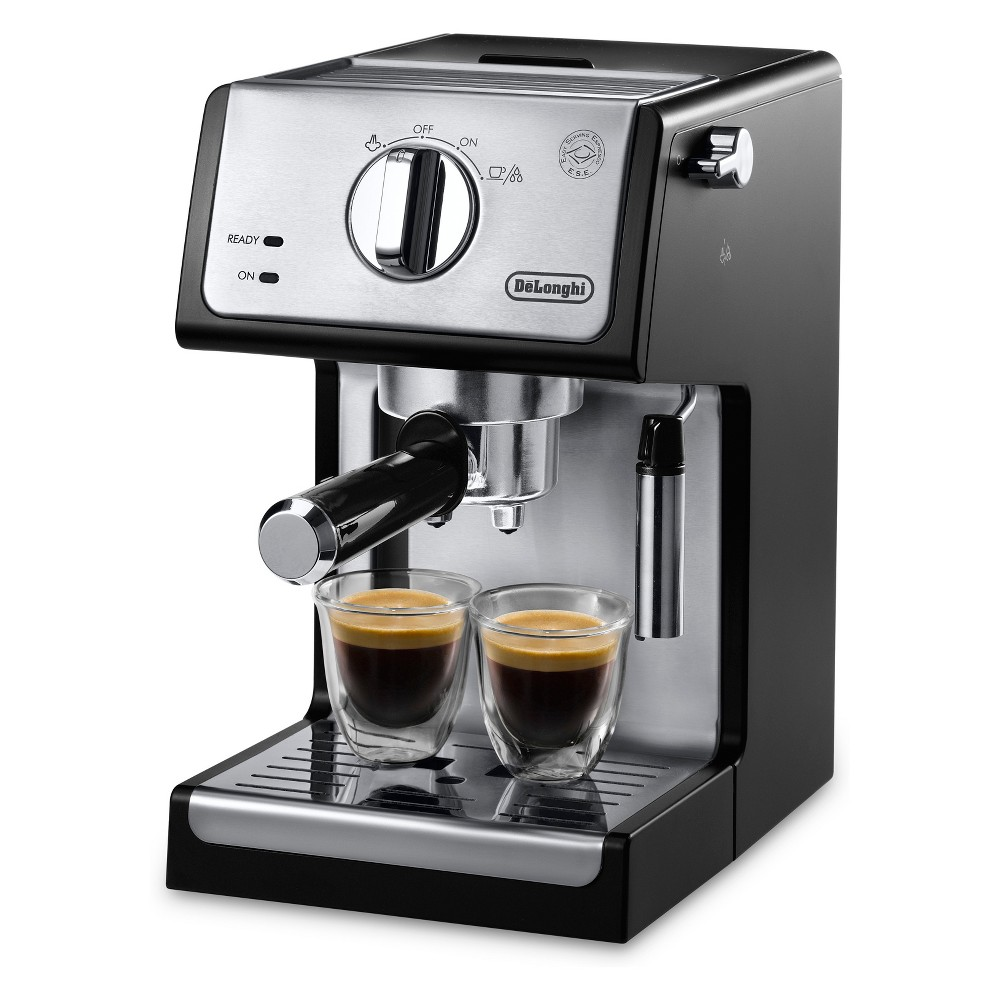 The De\\\'Longhi ECP3420 15-Bar Pump Espresso and Cappuccino Machine brews authentic Barista quality beverages just like you enjoy at your favorite coffee house. Professional 15-bar pressure and the self-priming operation assures quality results every time with minimum start-up preparation. Two thermostats for water and steam pressure are controlled separately ensuring you can make both espresso and cappuccino at the perfect temperature. De\\\'Longhi \\\'s Advanced Cappuccino System mixes and steams milk to create a rich, creamy froth for evenly textured drinks.