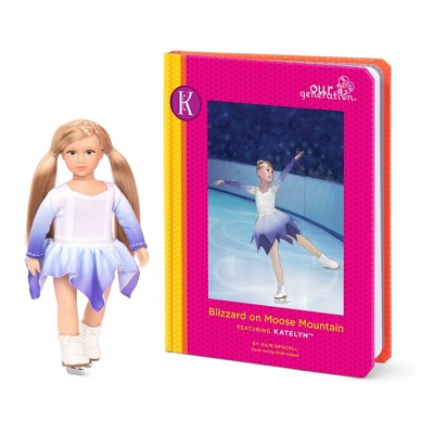 "Our Generation Read & Play Set - 6"" Ice Skating Mini Doll Katelyn with Storybook"