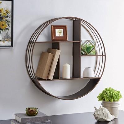 Brody Industrial Circular Decorative Wall Shelf Bronze - FirsTime