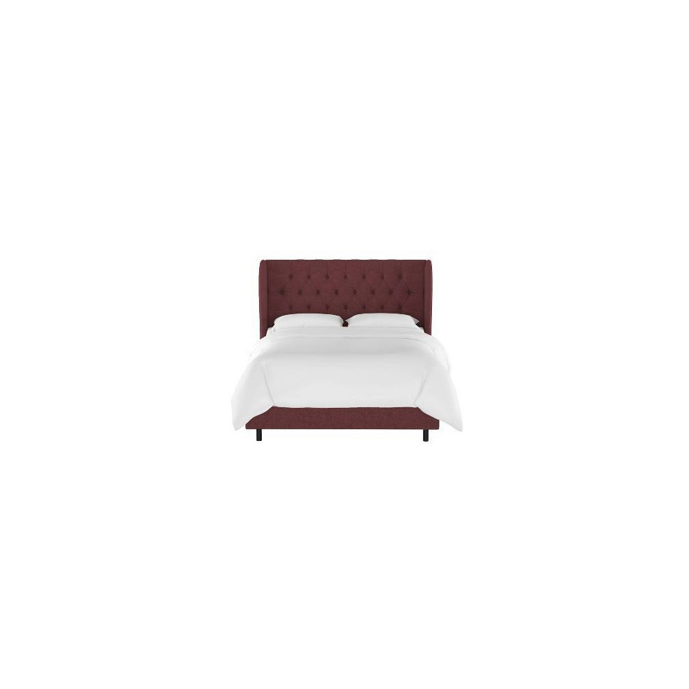 Queen Tufted Wingback Bed Wine Linen - Threshold