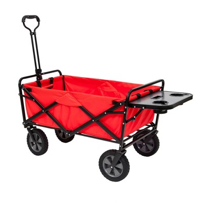 Mac Sports Collapsible Folding Outdoor Garden Utility Wagon Cart w/ Table, Red