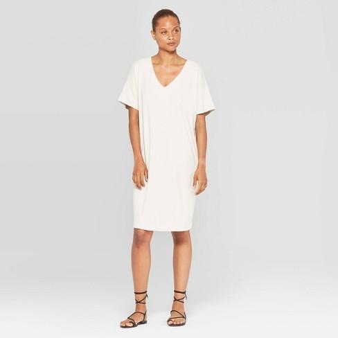 Women's Short Sleeve V-Neck Essential Midi T-Shirt Dress - Prologue™ Cream - image 1 of 3