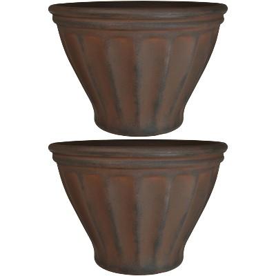 "Sunnydaze Indoor/Outdoor Patio, Garden, or Porch Weather-Resistant Double-Walled Charlotte Flower Pot Planter - 16"" - Rust Finish - 2pk"