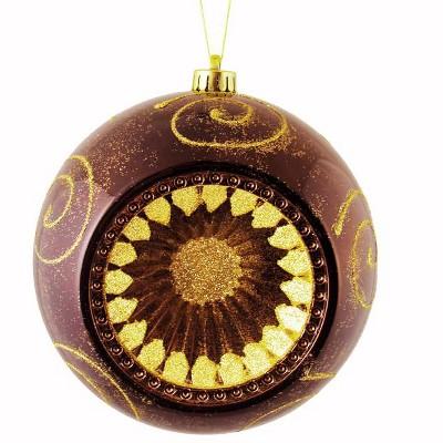 "Northlight 8"" Retro Reflector Shatterproof Christmas Ball Ornament - Brown"