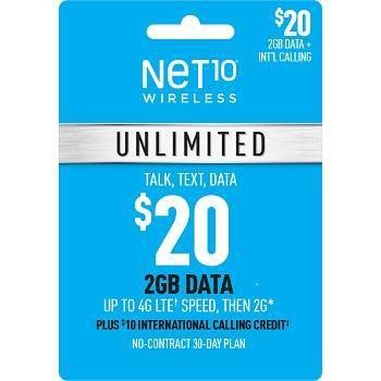 Net10 Wireless 30-Day Unlimited Talk/Text/Data Prepaid Card (Email Delivery)