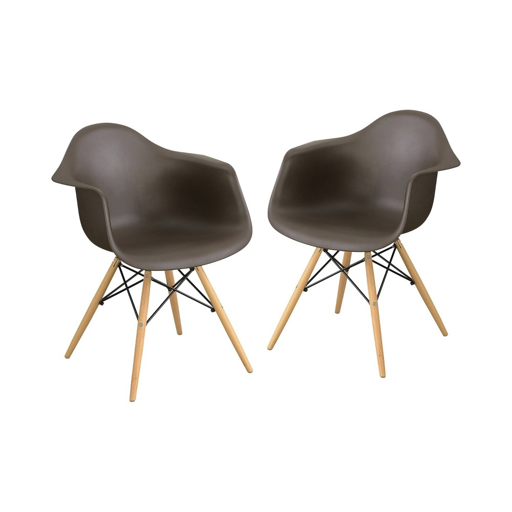 Set of 2 Harlan Contemporary Accent Chair Brown - Homes: Inside + Out