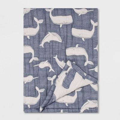 Muslin Quilt Blanket Whales - Cloud Island™