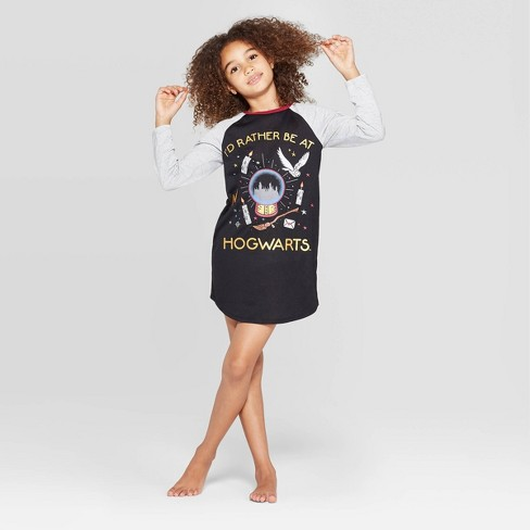 Girls' Harry Potter Hogwarts Nightgown - Black - image 1 of 3