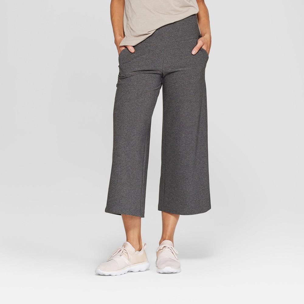 Mpg Sport Women's High-Waisted Wide Leg Knit Crop - Grey Heather M
